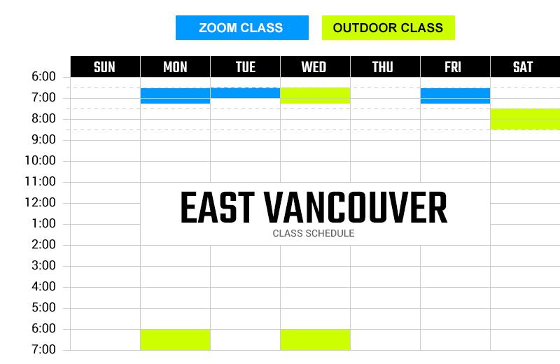 Survivor Bootcamp East Vancouver Weekly Schedule